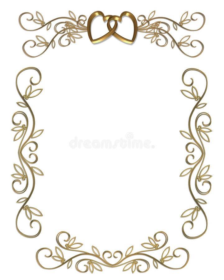 χρυσός γάμος συμβαλλόμενων μερών πρόσκλησης συνόρων απεικόνιση αποθεμάτων