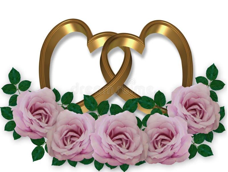 χρυσός γραφικός γάμος καρδιών rose4s απεικόνιση αποθεμάτων