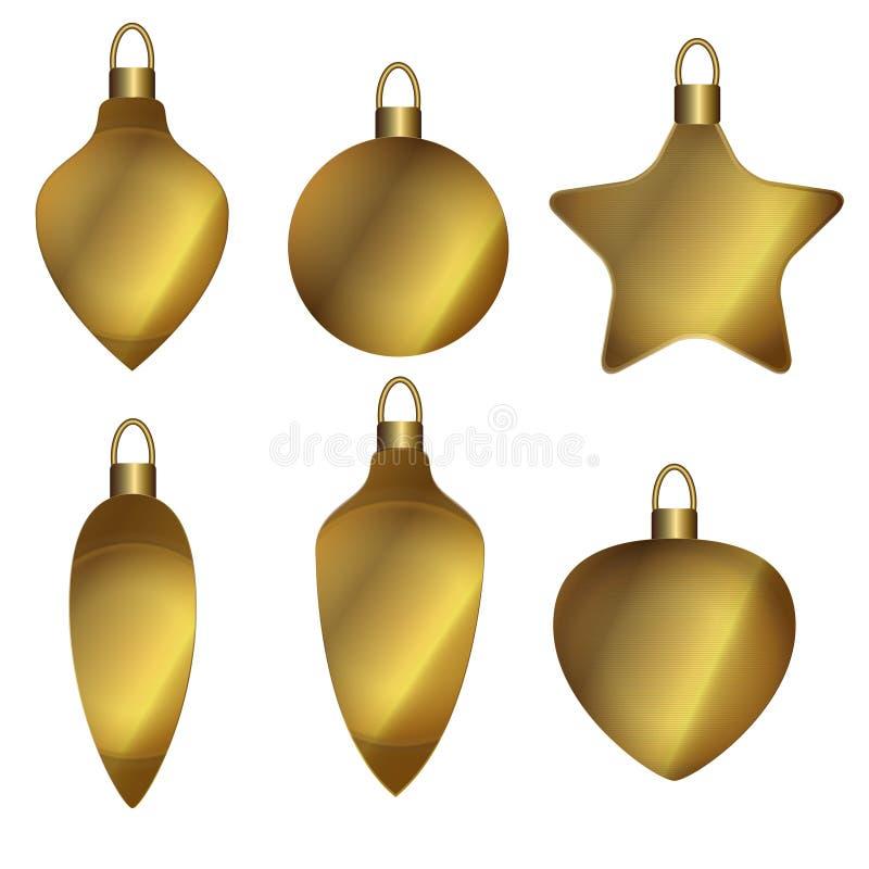 χρυσός διακοσμήσεων Χριστουγέννων σφαιρών απεικόνιση αποθεμάτων