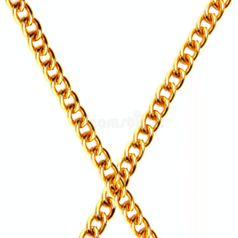 χρυσός δύο αλυσίδων στοκ εικόνες