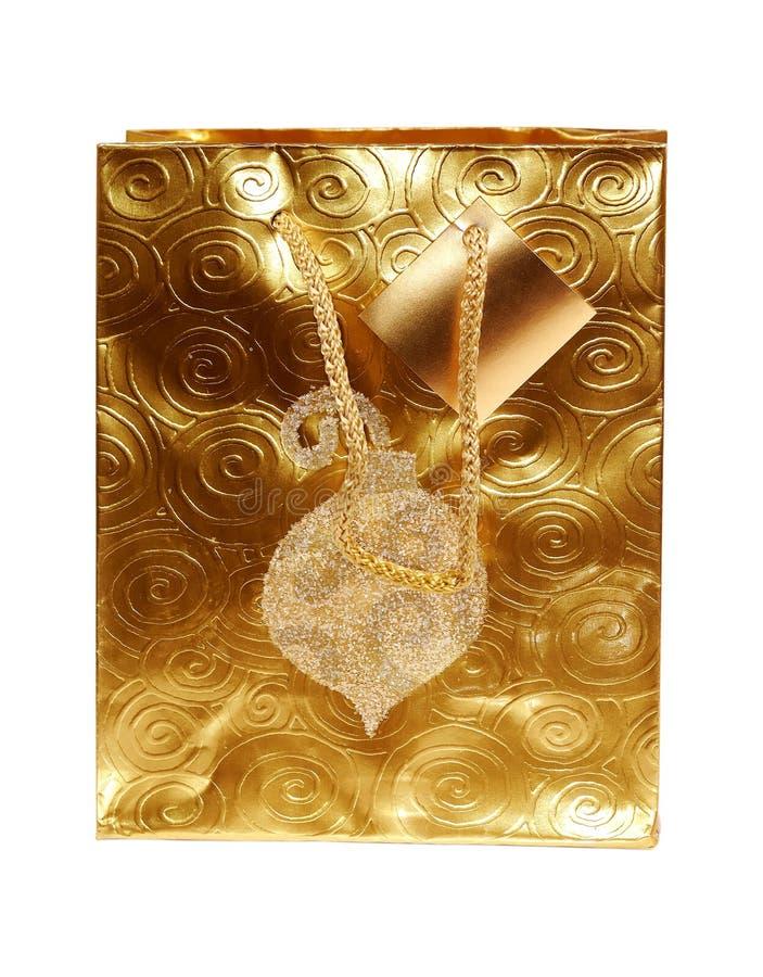 χρυσός δώρων τσαντών στοκ φωτογραφίες με δικαίωμα ελεύθερης χρήσης