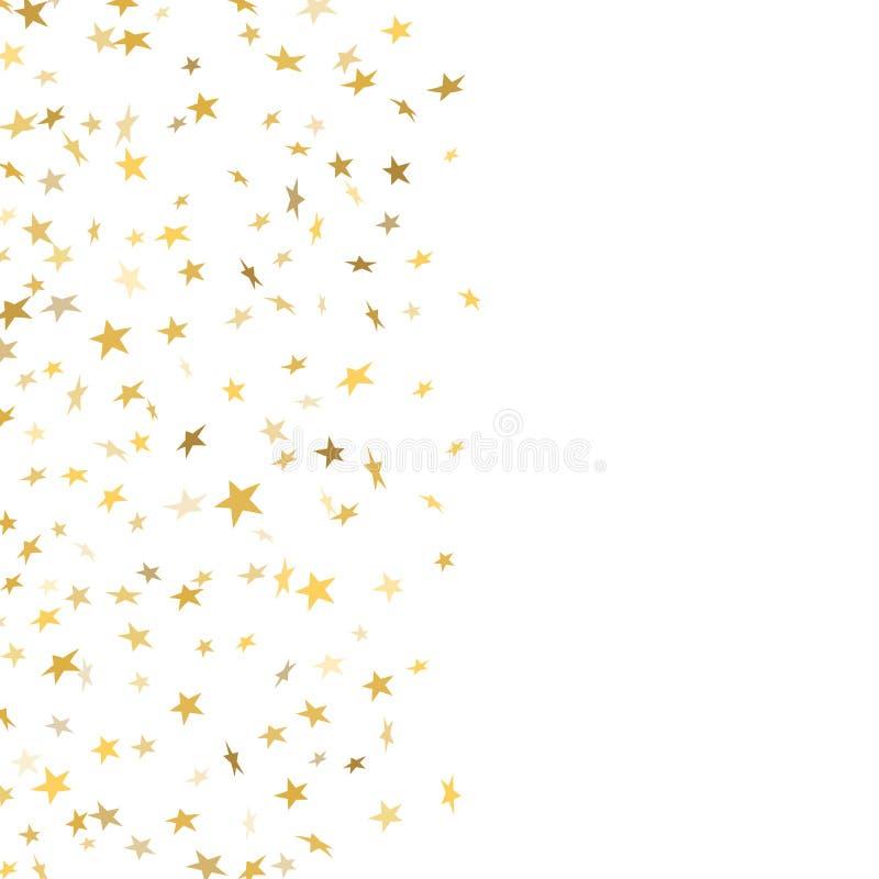 Χρυσός εορτασμός κομφετί αστεριών που απομονώνεται στο άσπρο υπόβαθρο Μειωμένη διακόσμηση σχεδίων αστεριών χρυσή αφηρημένη ακτινο απεικόνιση αποθεμάτων