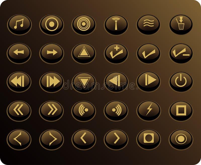 χρυσός Ιστός μέσων κουμπιών διανυσματική απεικόνιση