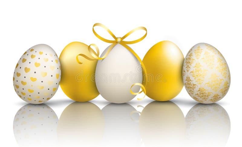 5 χρυσός καθρέφτης διακοσμήσεων αυγών Πάσχας διανυσματική απεικόνιση