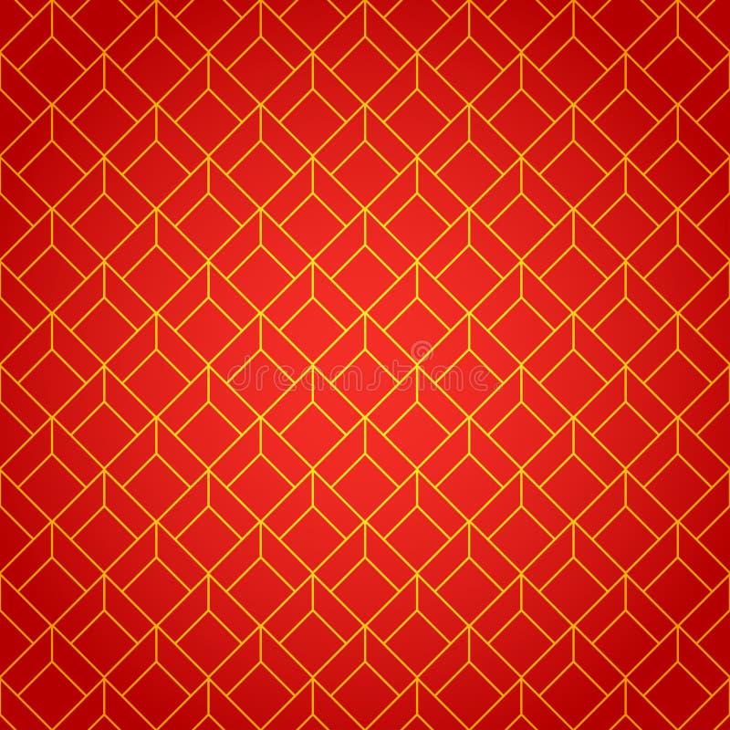 Χρυσός και κόκκινος γεωμετρικός εθνικός κινεζικός άνευ ραφής διανυσματική απεικόνιση