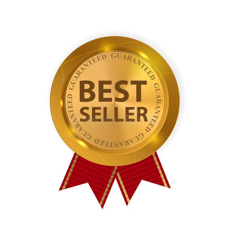 Χρυσός καλύτερος πωλητής ετικετών r απεικόνιση αποθεμάτων