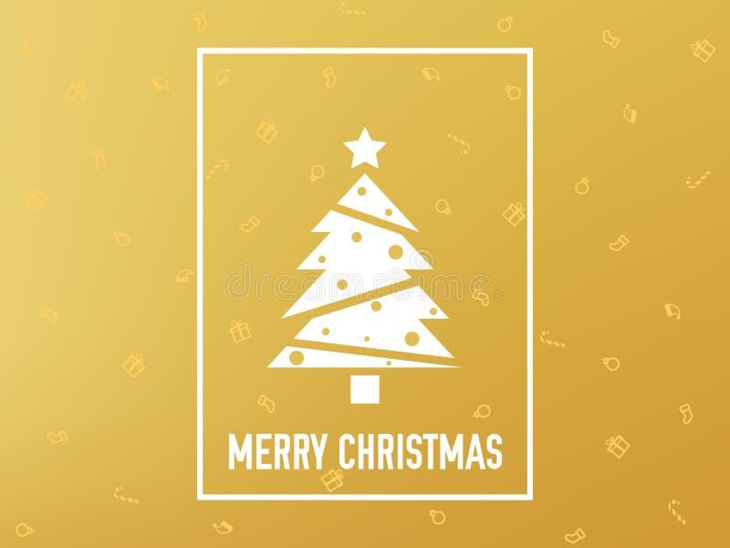 Χρυσός καρτών Χαρούμενα Χριστούγεννας χρυσό δέντρο Χριστουγέννω& Μινιμαλιστική διακόσμηση πολυτέλειας Κίτρινο σκηνικό με απεικόνιση αποθεμάτων