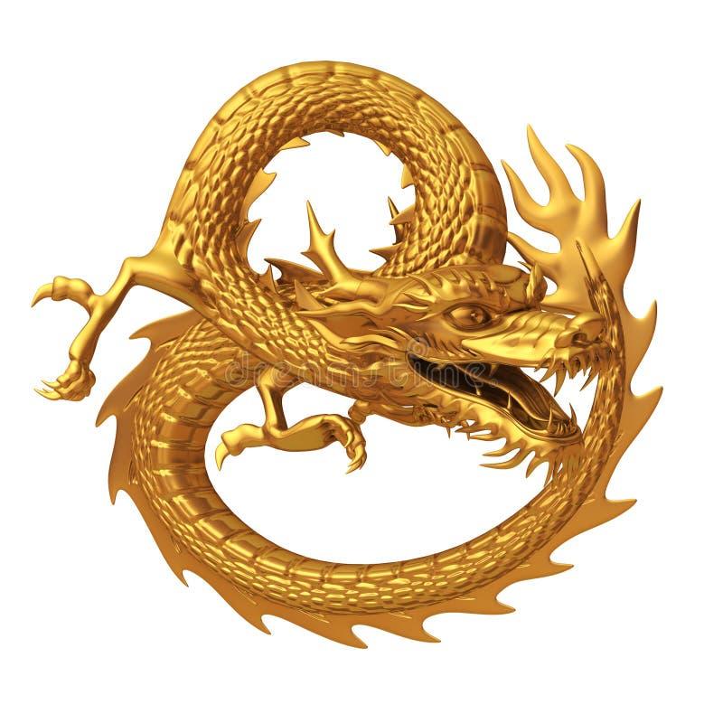 Χρυσός κινεζικός δράκος διανυσματική απεικόνιση