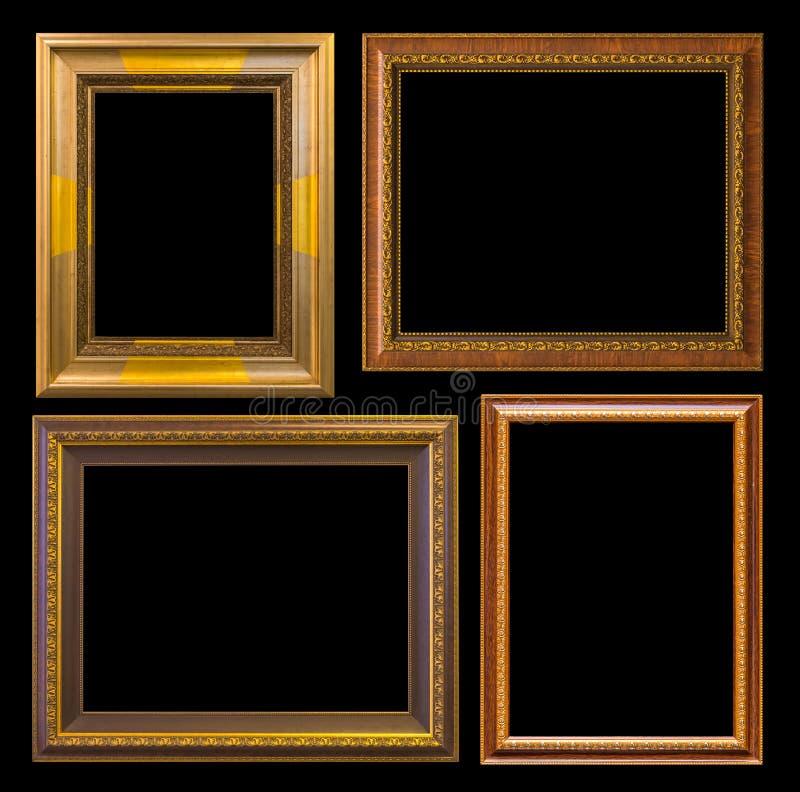 Χρυσός κομψός τρύγος πλαισίων που απομονώνεται στο μαύρο υπόβαθρο στοκ φωτογραφίες