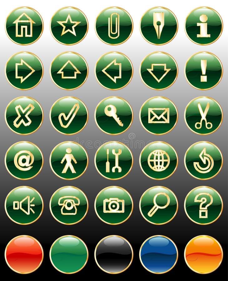 χρυσός κουμπιών πράσινος απεικόνιση αποθεμάτων