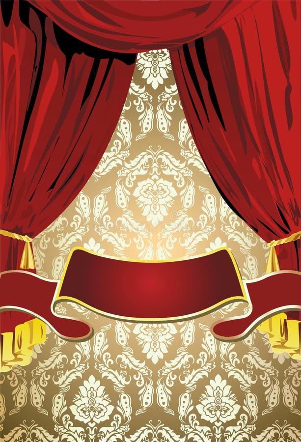 χρυσός κόκκινος teatrical κουρ&tau διανυσματική απεικόνιση