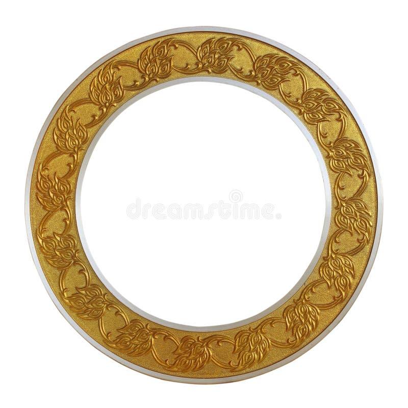 Χρυσός κύκλος πλαισίων στο απομονωμένο άσπρο υπόβαθρο στοκ εικόνες με δικαίωμα ελεύθερης χρήσης