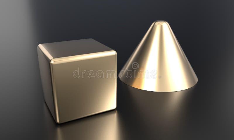 Χρυσός κώνων και κύβων που χρωματίζεται, τρισδιάστατη απόδοση απεικόνιση αποθεμάτων