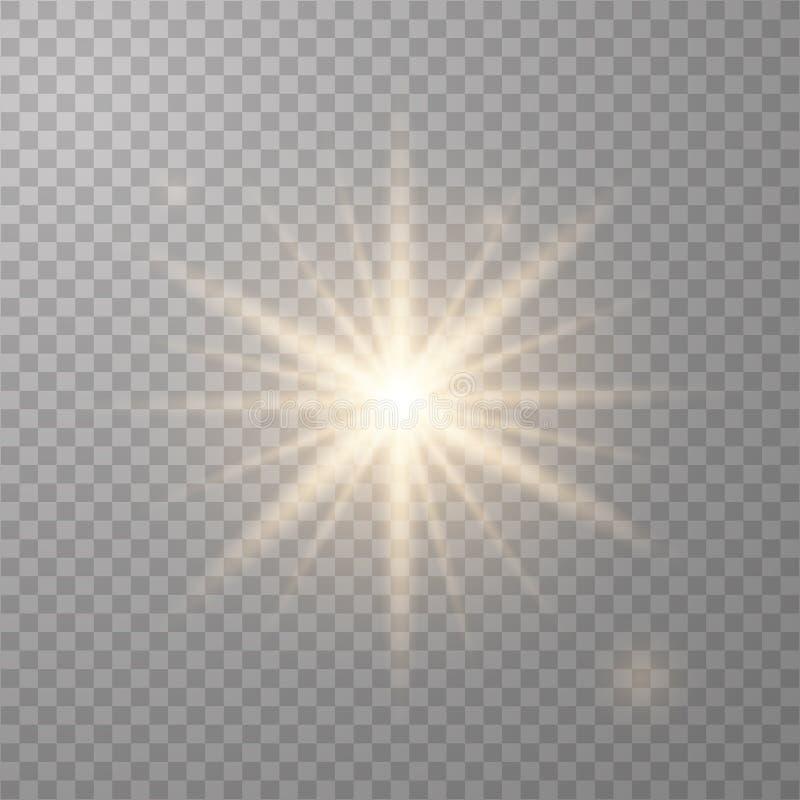 Χρυσός λάμποντας διανυσματικός ήλιος ελεύθερη απεικόνιση δικαιώματος