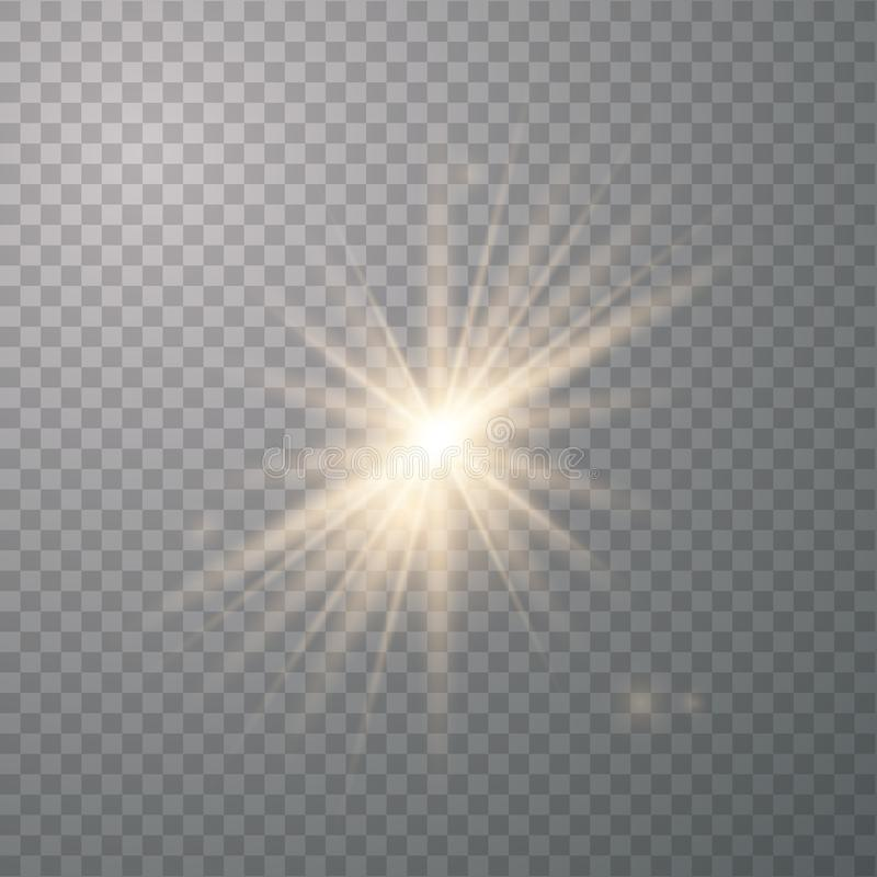 Χρυσός λάμποντας διανυσματικός ήλιος διανυσματική απεικόνιση