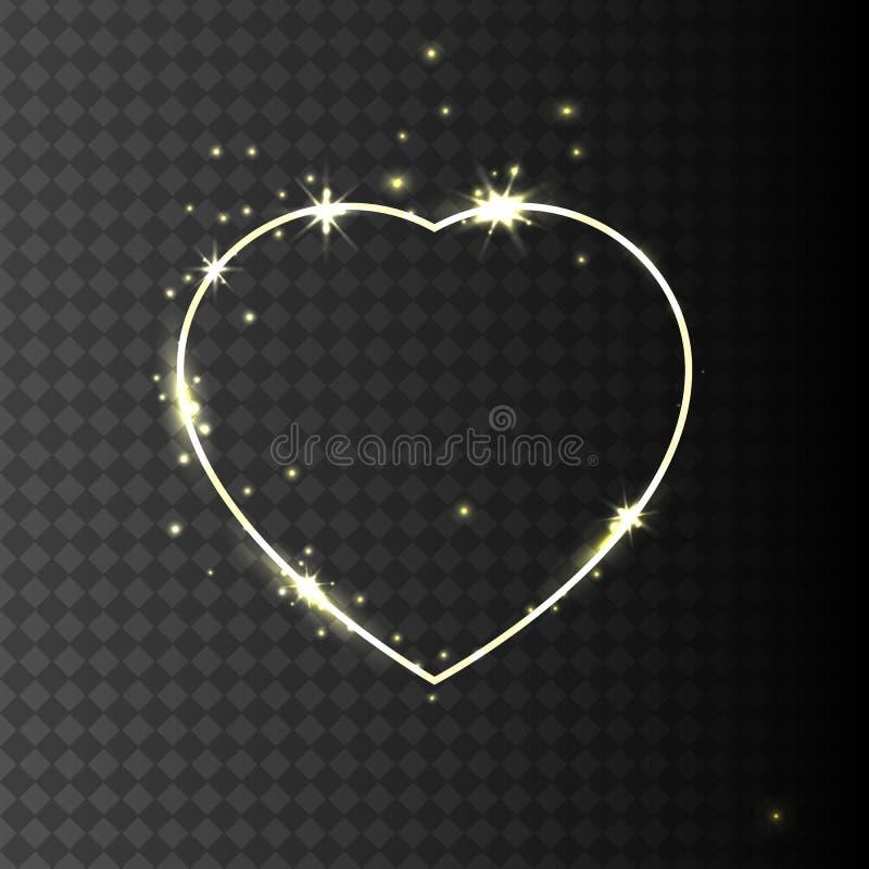 Χρυσός λάμψτε πλαίσιο καρδιών με τα σπινθηρίσματα διανυσματική απεικόνιση