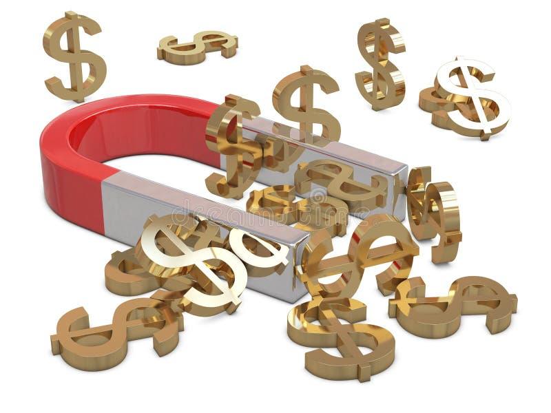 χρυσός μαγνήτης δολαρίων ελεύθερη απεικόνιση δικαιώματος