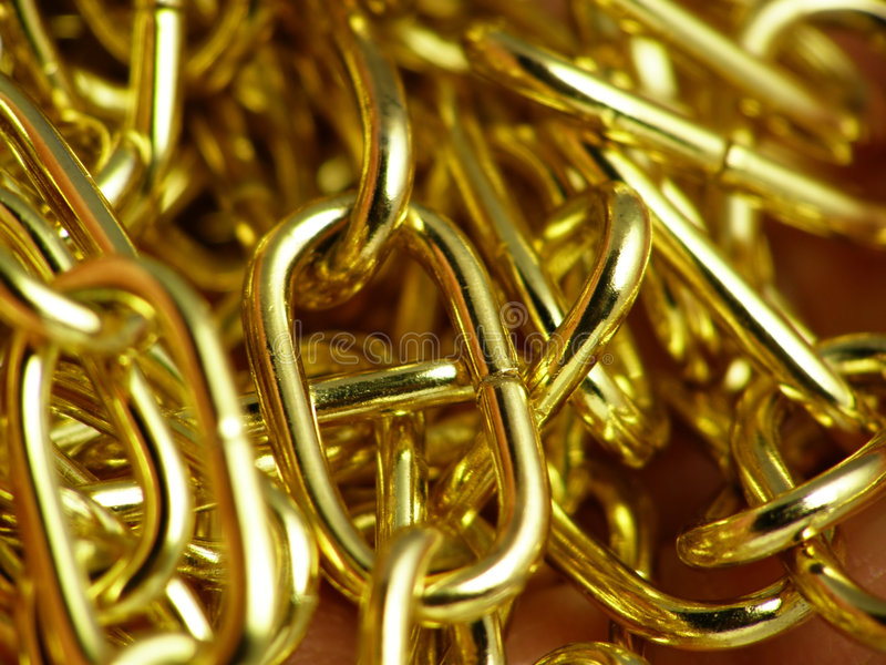 χρυσός μεταλλικός αλυσίδων στοκ εικόνα