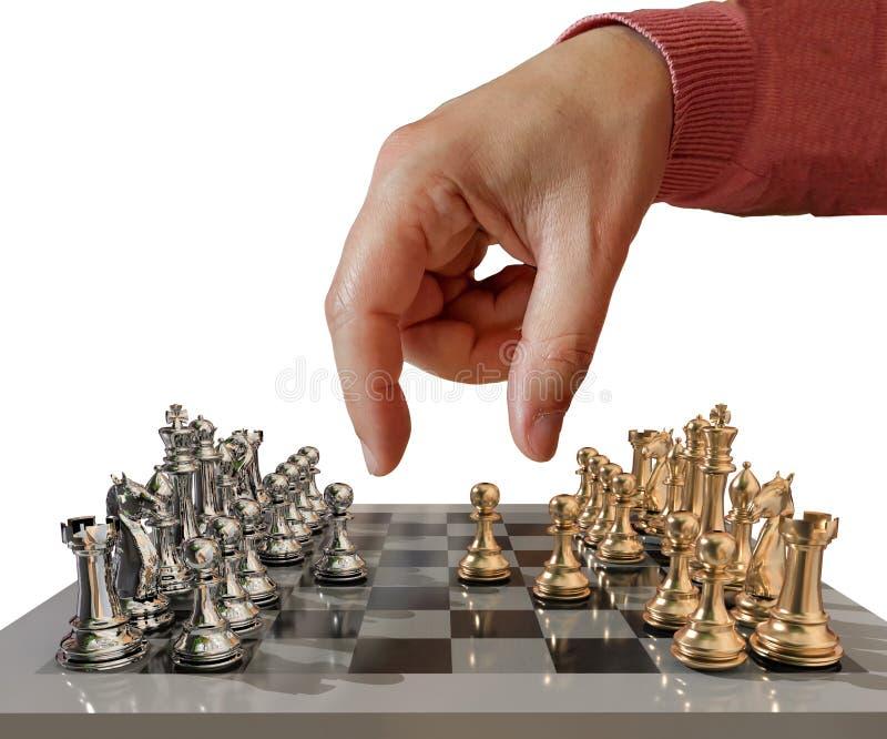 Χρυσός μεταλλικός κίνησης χεριών σκακιού με όλες τα ενέχυρα και τη μάχη αρχίζει ακριβώς - τρισδιάστατη απόδοση στοκ φωτογραφία με δικαίωμα ελεύθερης χρήσης
