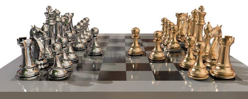 Χρυσός μεταλλικός σκακιού με όλες τα ενέχυρα και τη μάχη αρχίζει ακριβώς - τρισδιάστατη απόδοση ελεύθερη απεικόνιση δικαιώματος