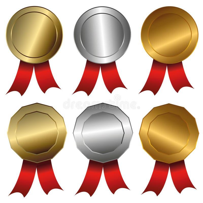Χρυσός μεταλλίων βραβείων, ασήμι και σφραγίδες ή μετάλλια χαλκού ελεύθερη απεικόνιση δικαιώματος