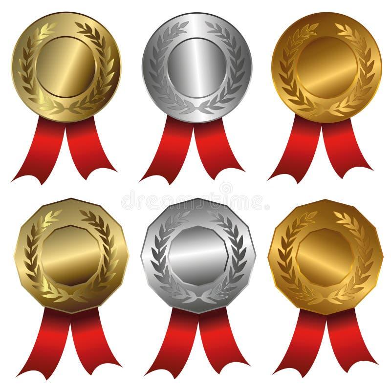 Χρυσός μεταλλίων βραβείων, ασήμι και σφραγίδες ή μετάλλια χαλκού απεικόνιση αποθεμάτων