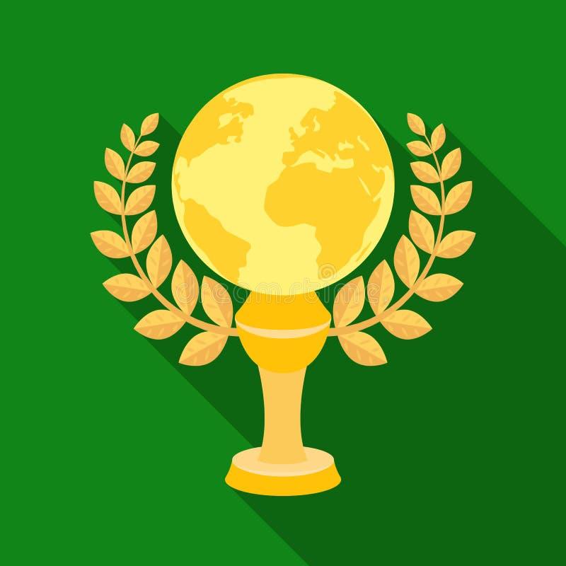 Χρυσός πλανήτης με ένα στεφάνι Το τρόπαιο για την καλύτερη ταινία για τη γη Ενιαίο εικονίδιο βραβείων κινηματογράφων στο επίπεδο  διανυσματική απεικόνιση