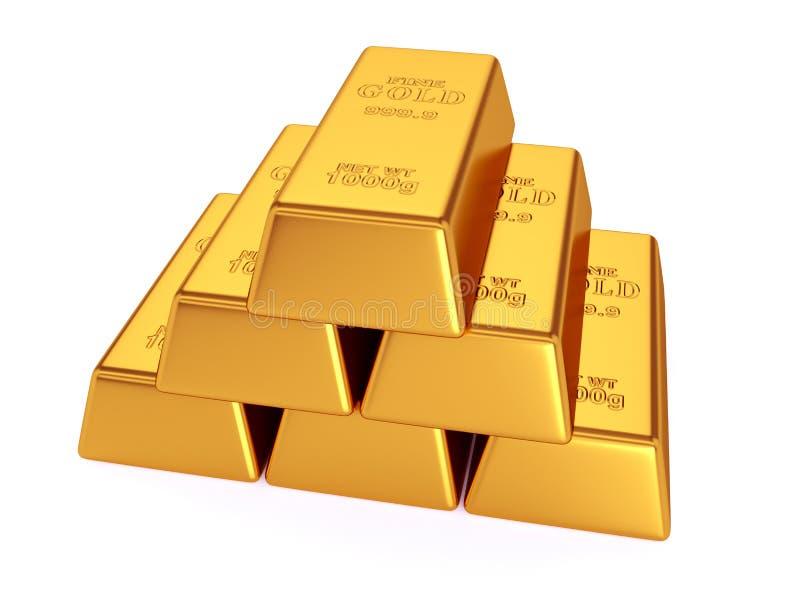 χρυσός ράβδων που απομονώ&n διανυσματική απεικόνιση