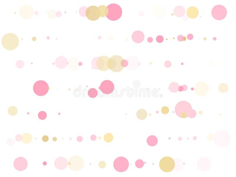 Χρυσός, ροζ και ροζ χρώματος στρογγυλεμένες κουκκίδες με χαρτοπόλεμο, κυκλικός χαοτικός διασκορπισμός Φόντο Glamor ελεύθερη απεικόνιση δικαιώματος
