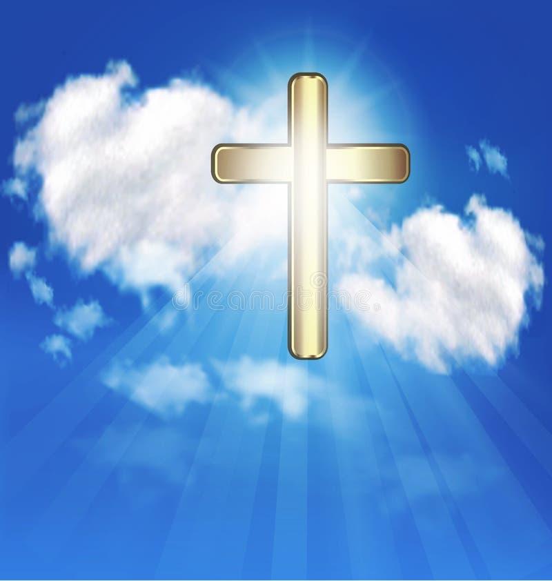 Χρυσός σταυρός στο διάνυσμα ουρανού διανυσματική απεικόνιση