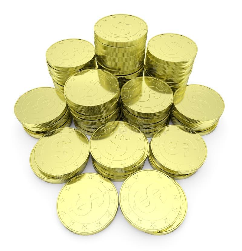 Χρυσός σωρός νομισμάτων δολαρίων που απομονώνεται στην άσπρη άποψη κινηματογραφήσεων σε πρώτο πλάνο απεικόνιση αποθεμάτων
