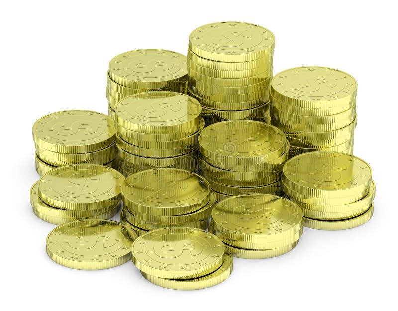 Χρυσός σωρός νομισμάτων δολαρίων που απομονώνεται στην άσπρη, διαγώνια άποψη απεικόνιση αποθεμάτων