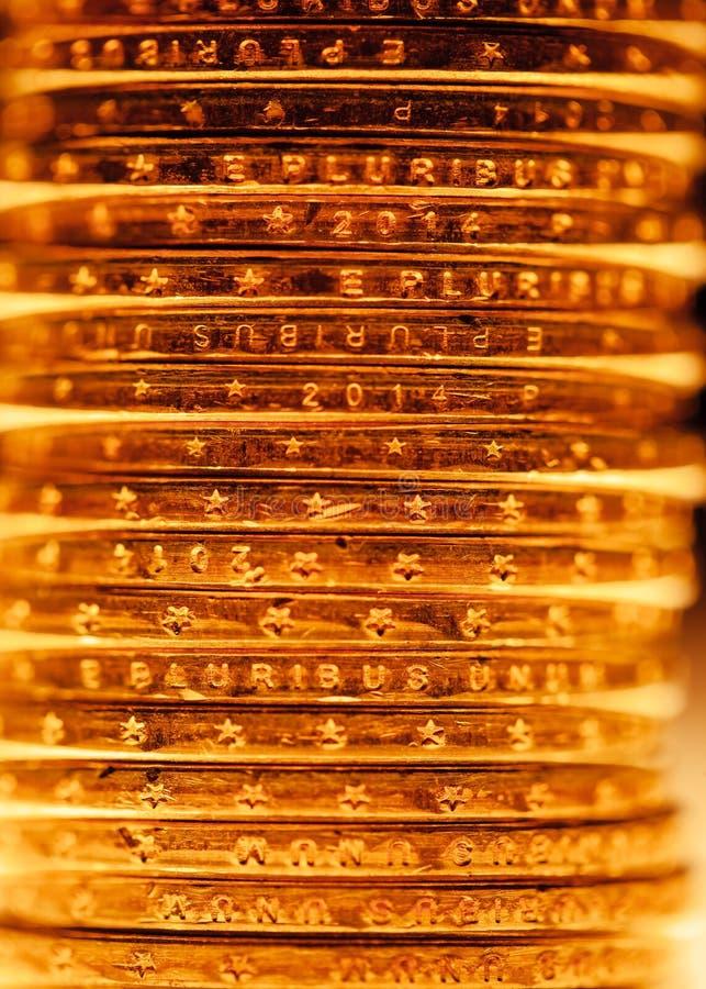 Χρυσός σωρός νομισμάτων δολαρίων στοκ εικόνα με δικαίωμα ελεύθερης χρήσης