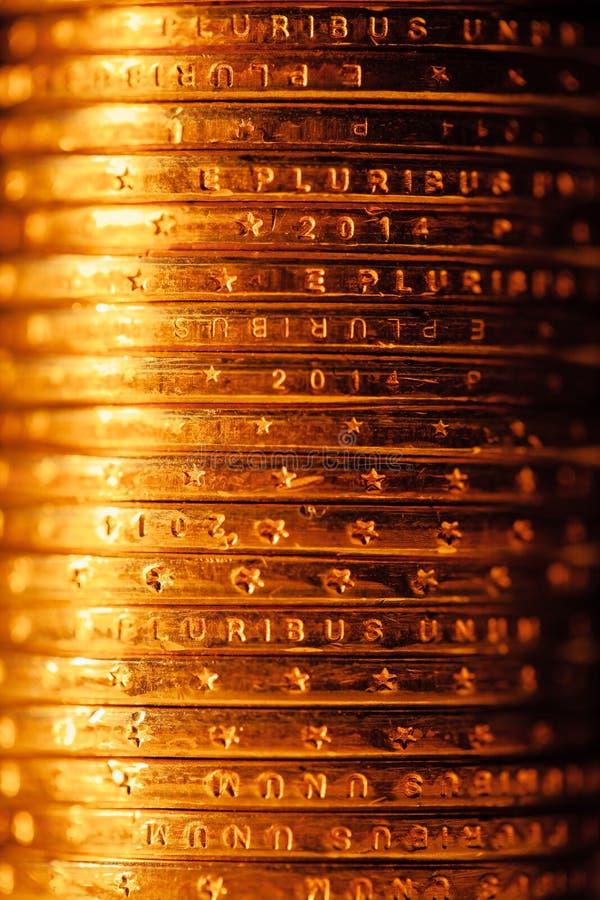 Χρυσός σωρός νομισμάτων δολαρίων στοκ εικόνες