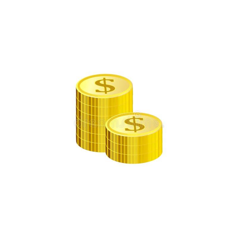 Χρυσός σωρός των νομισμάτων δολαρίων που απομονώνονται στο άσπρο υπόβαθρο διανυσματική απεικόνιση