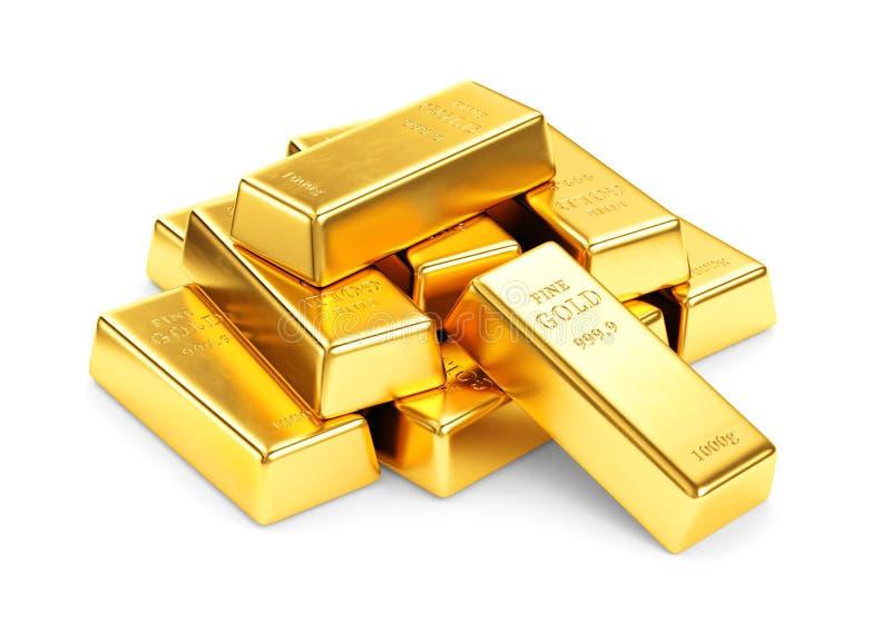 Χρυσός σωρός φραγμών που απομονώνεται στο άσπρο υπόβαθρο απεικόνιση αποθεμάτων