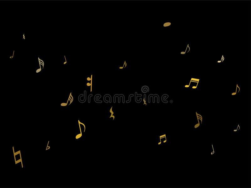 Χρυσός τις μουσικές νότες που απομονώνονται που πετά στο Μαύρο διανυσματική απεικόνιση