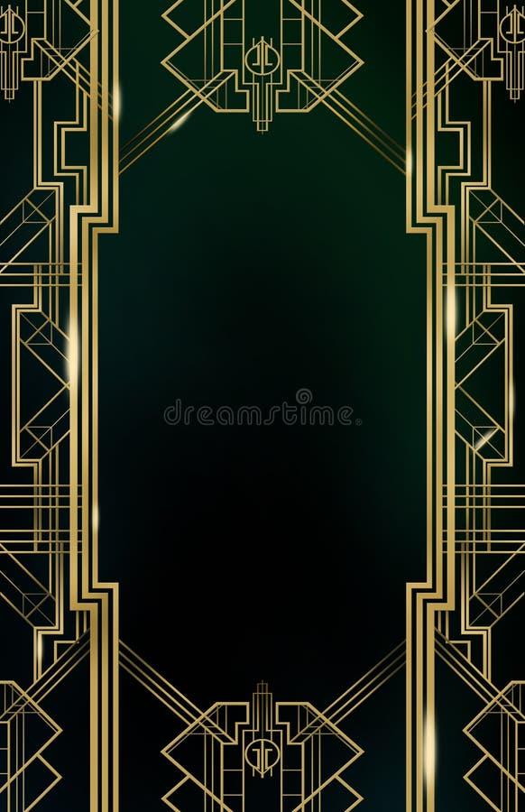 Χρυσός υποβάθρου του Art Deco Gatsby στοκ εικόνες