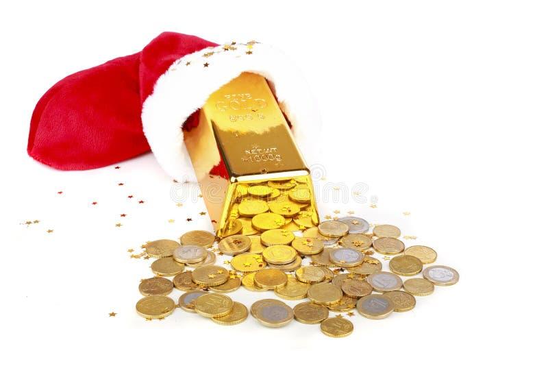 Χρυσός φραγμός και ευρο- χρήματα στοκ εικόνες