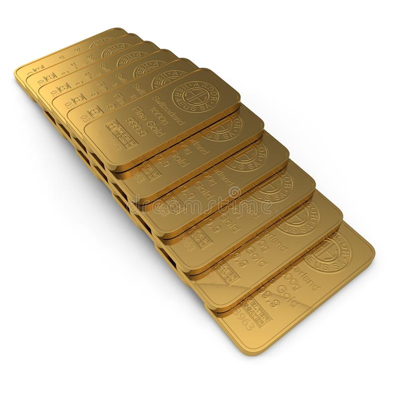 Χρυσός φραγμός 1000g που απομονώνεται στο λευκό τρισδιάστατη απεικόνιση απεικόνιση αποθεμάτων