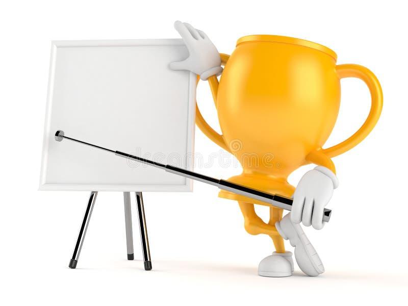 Χρυσός χαρακτήρας τροπαίων με το κενό whiteboard διανυσματική απεικόνιση