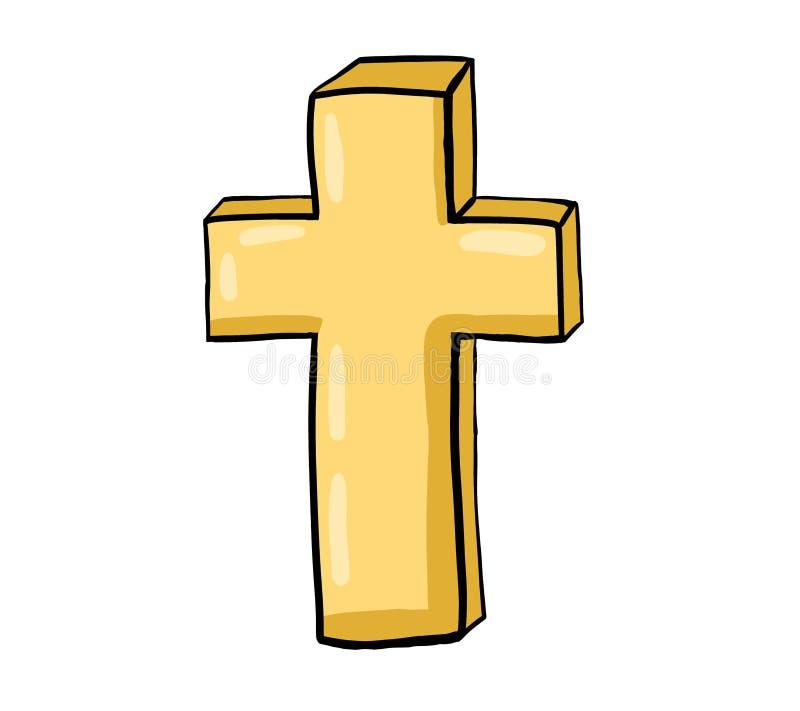 Χρυσός χριστιανικός σταυρός απεικόνιση αποθεμάτων