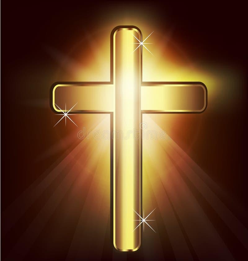 Χρυσός χριστιανικός σταυρός διανυσματική απεικόνιση