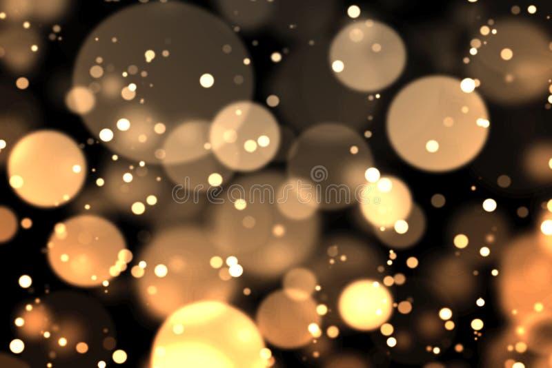 Χρυσός bokeh στο σκοτάδι διανυσματική απεικόνιση