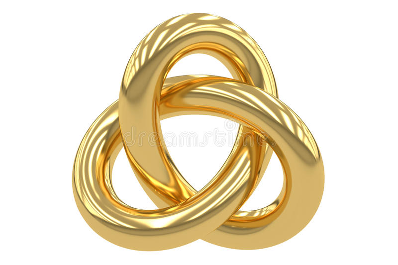 Χρυσός Trefoil κόμβος, τρισδιάστατη απόδοση διανυσματική απεικόνιση