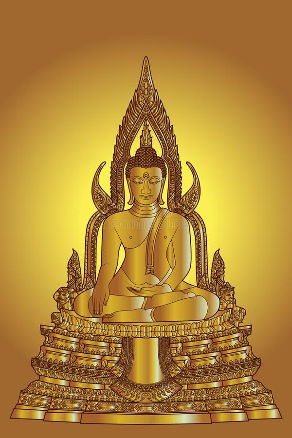 Χρυσό άγαλμα του Βούδα χρώματος τέχνης γραμμών διανυσματική απεικόνιση
