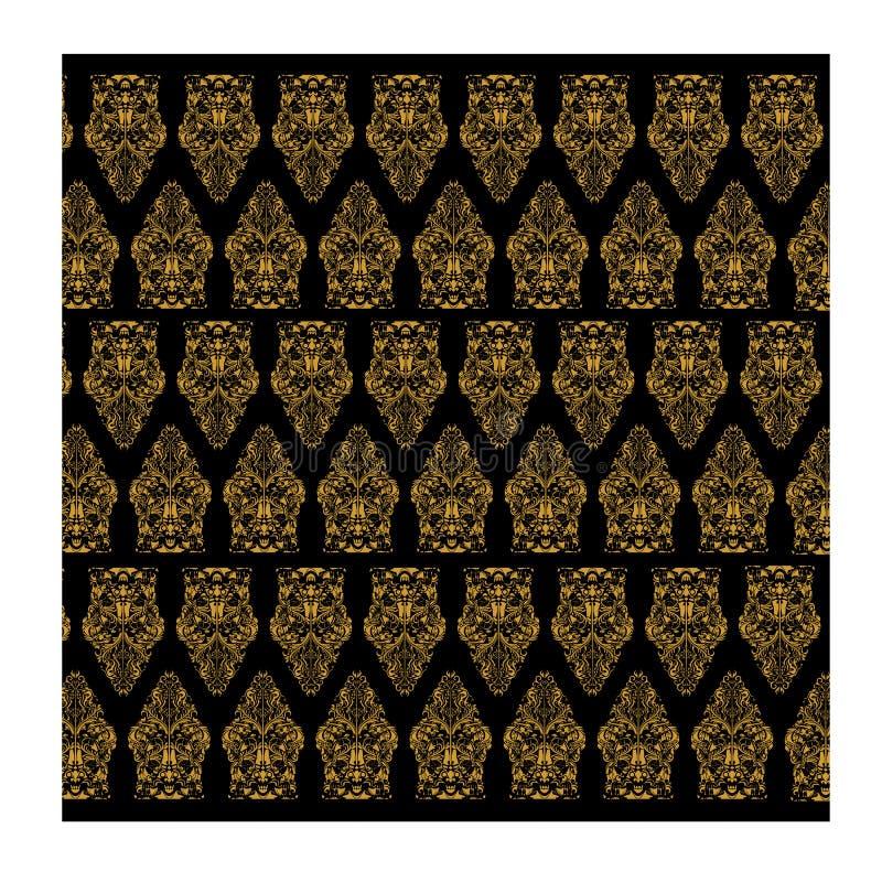 Χρυσό άνευ ραφής διανυσματικό και μαύρο υπόβαθρο μπατίκ για την υφαντική τυπωμένη ύλη μόδας στοκ εικόνα με δικαίωμα ελεύθερης χρήσης