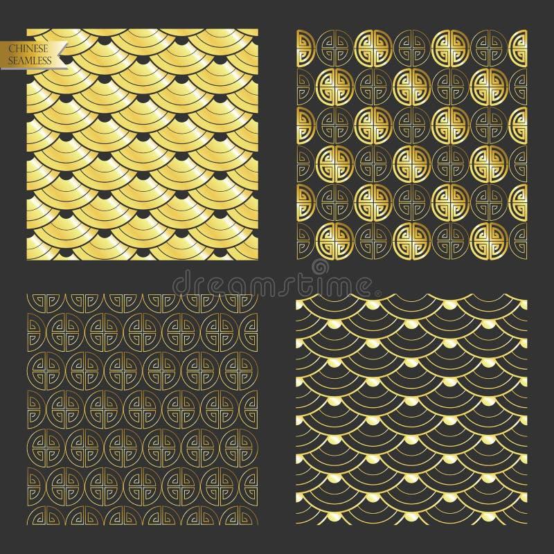 Χρυσό άνευ ραφής κινεζικό σχέδιο απεικόνιση αποθεμάτων