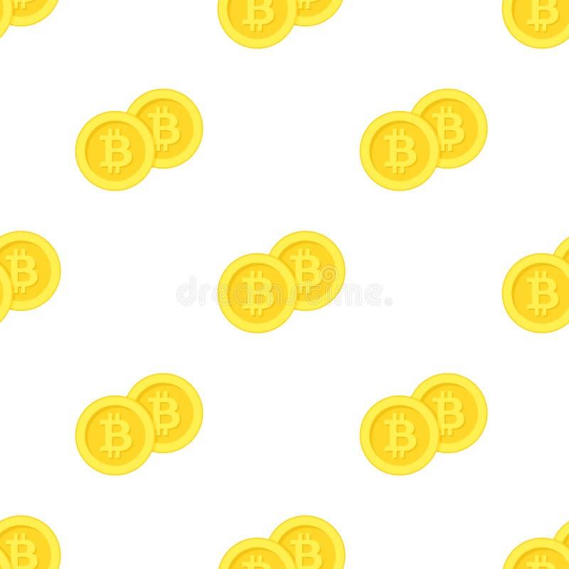 Χρυσό άνευ ραφής σχέδιο εικονιδίων νομισμάτων Bitcoin ελεύθερη απεικόνιση δικαιώματος