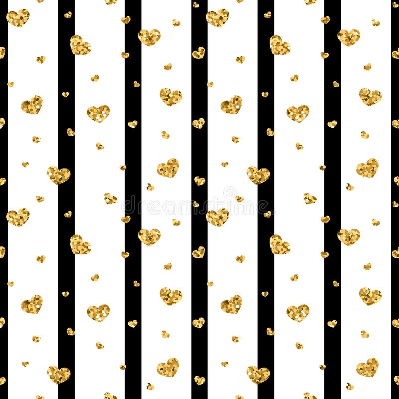 Χρυσό άνευ ραφής σχέδιο καρδιών Μαύρος-άσπρα γεωμετρικά λωρίδες, χρυσές κομφετί-καρδιές Σύμβολο της αγάπης, ημέρα βαλεντίνων απεικόνιση αποθεμάτων